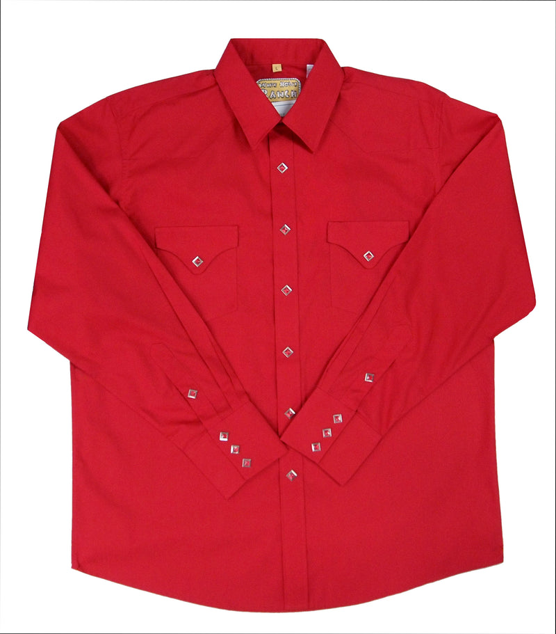 White Horse Men's Classic L/S Western Shirt - Red