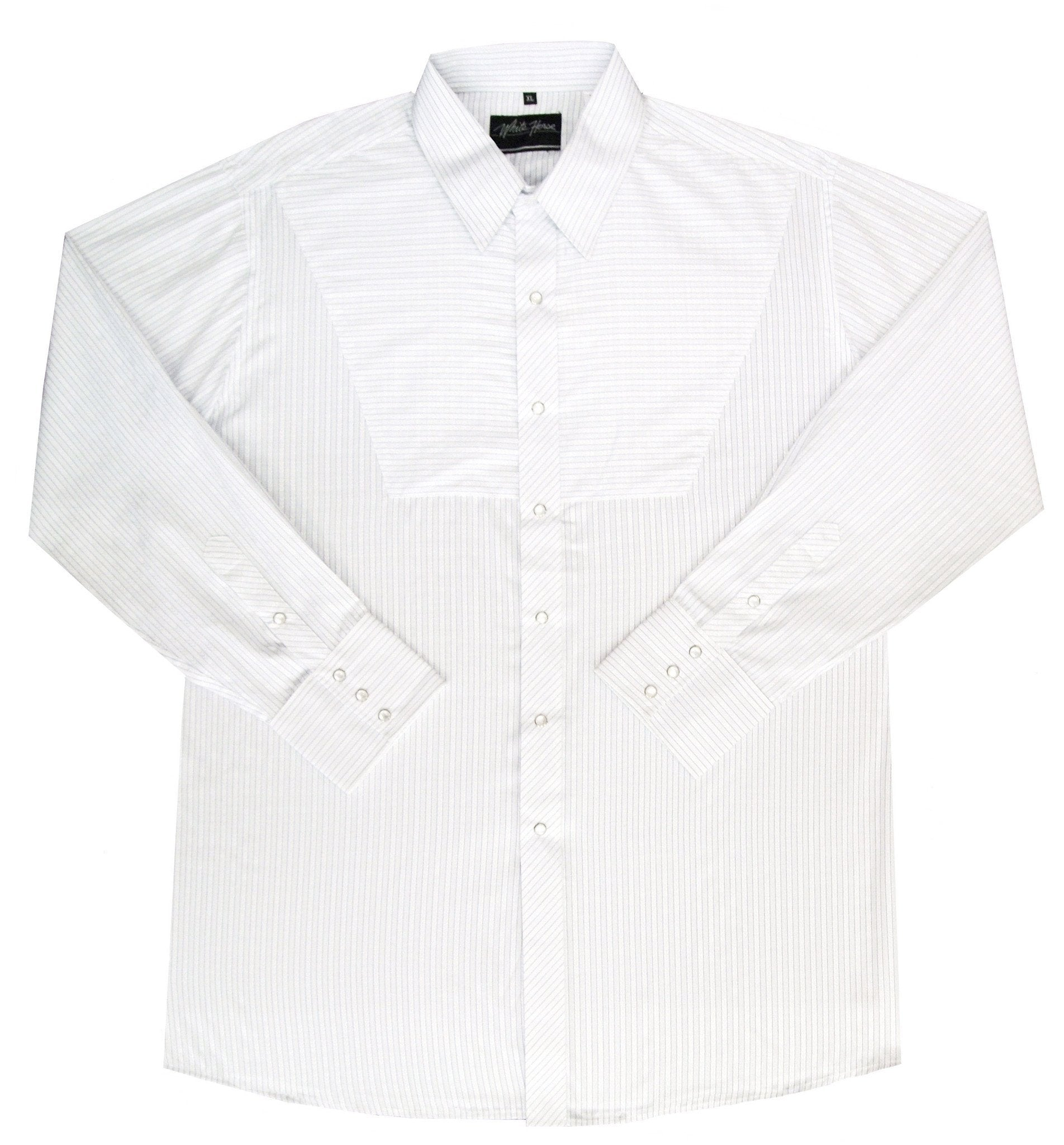 White Horse Mens Stripe Modified Bib Western Shirt