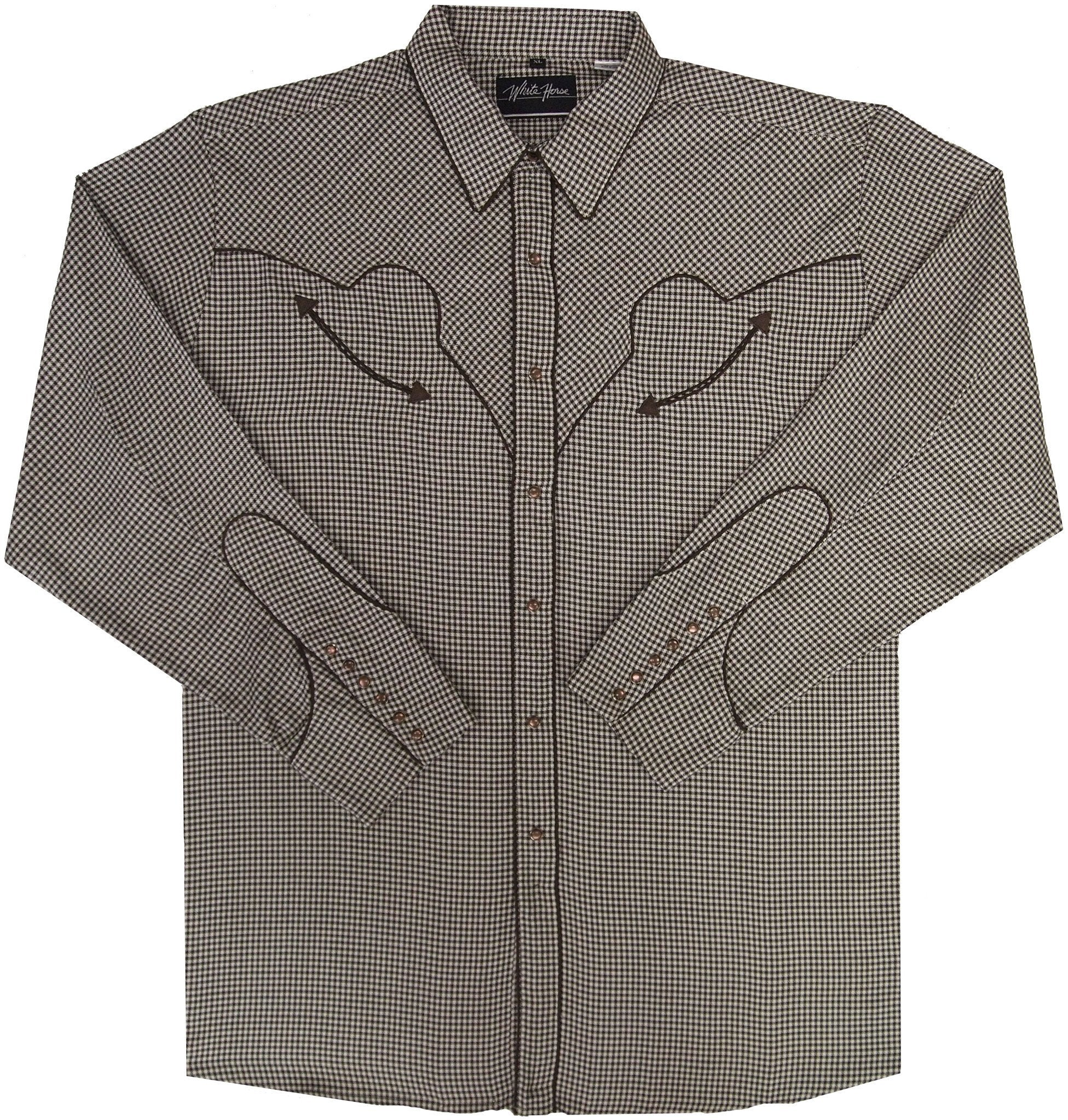 White Horse Mens Brown Check Western Shirt
