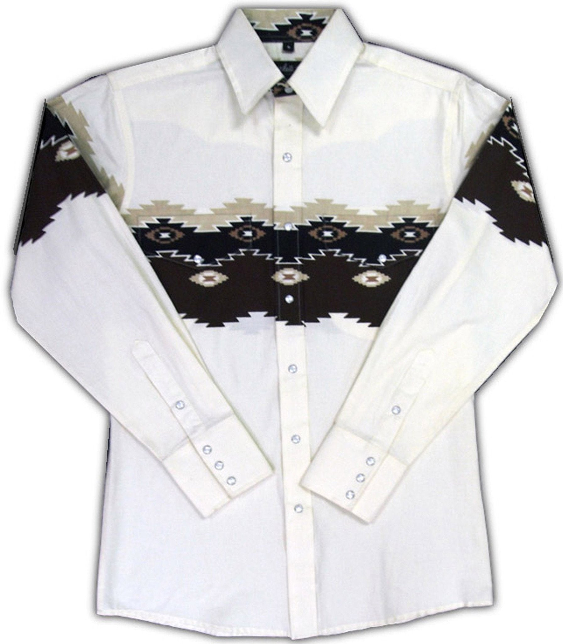 White Horse Mens Border Print Western Shirt