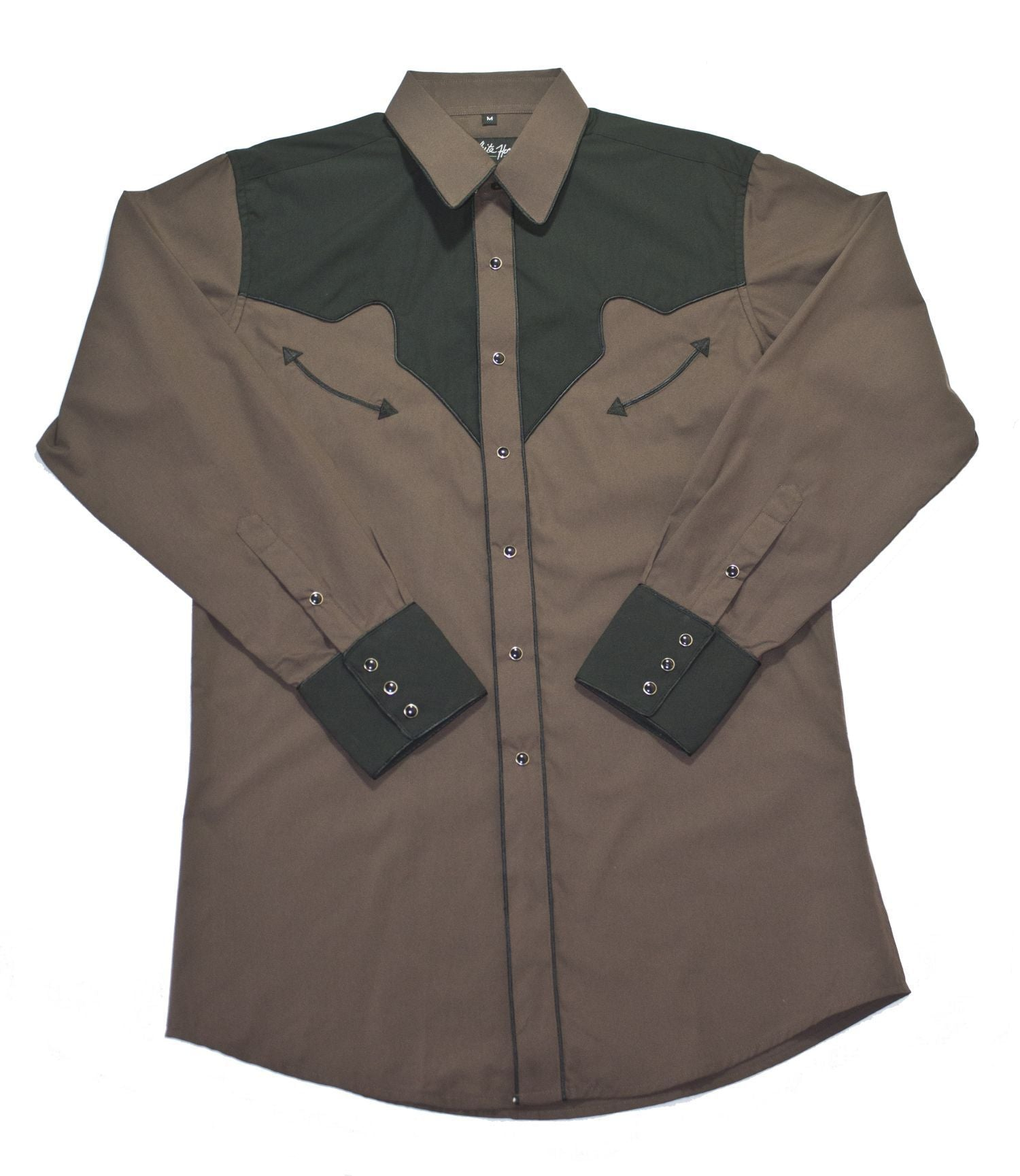 White Horse Men's Brown/Black Yoke & Cuff Shirt
