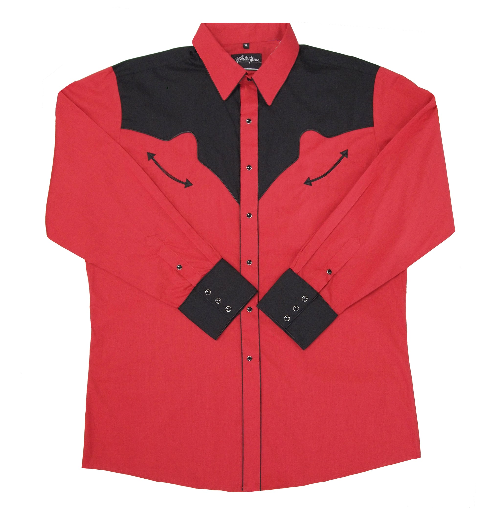 White Horse Men's Red/Black Yoke & Cuffs Shirt