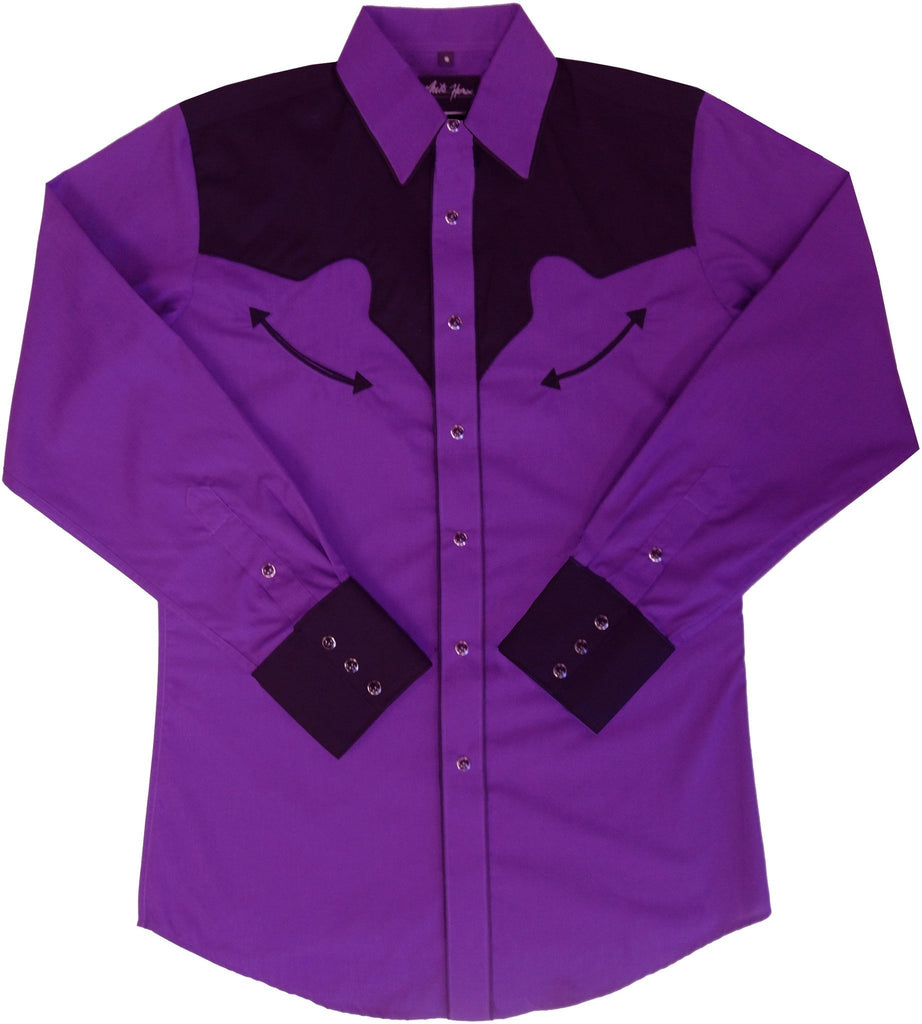 White Horse Men's Purple/Black Yoke & Cuffs Shirt
