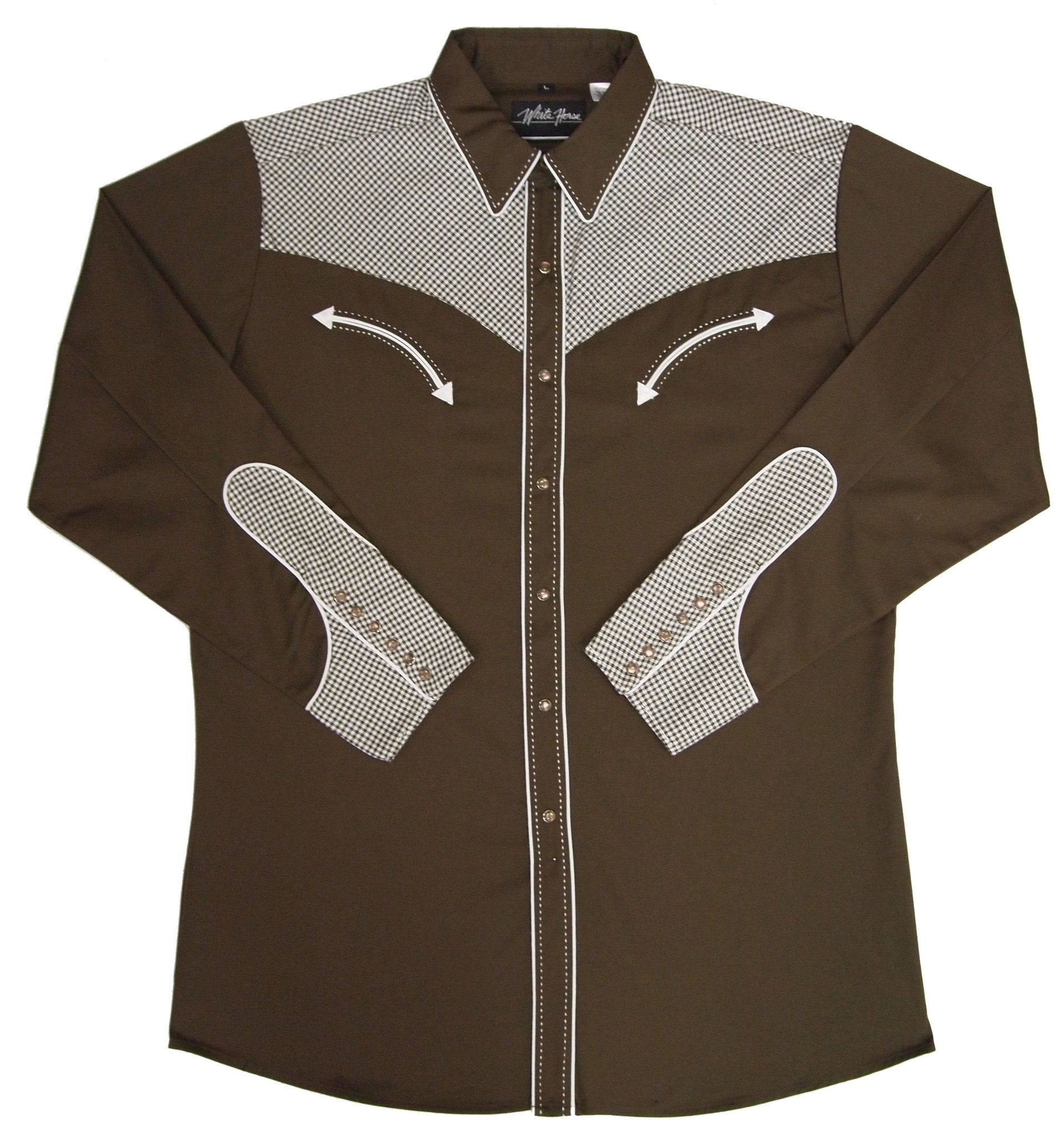 White Horse Men's Checkered Yoke & Cuff Western Shirt