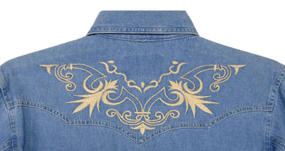 White Horse Ranch Mens Denim Embroidery Shirt