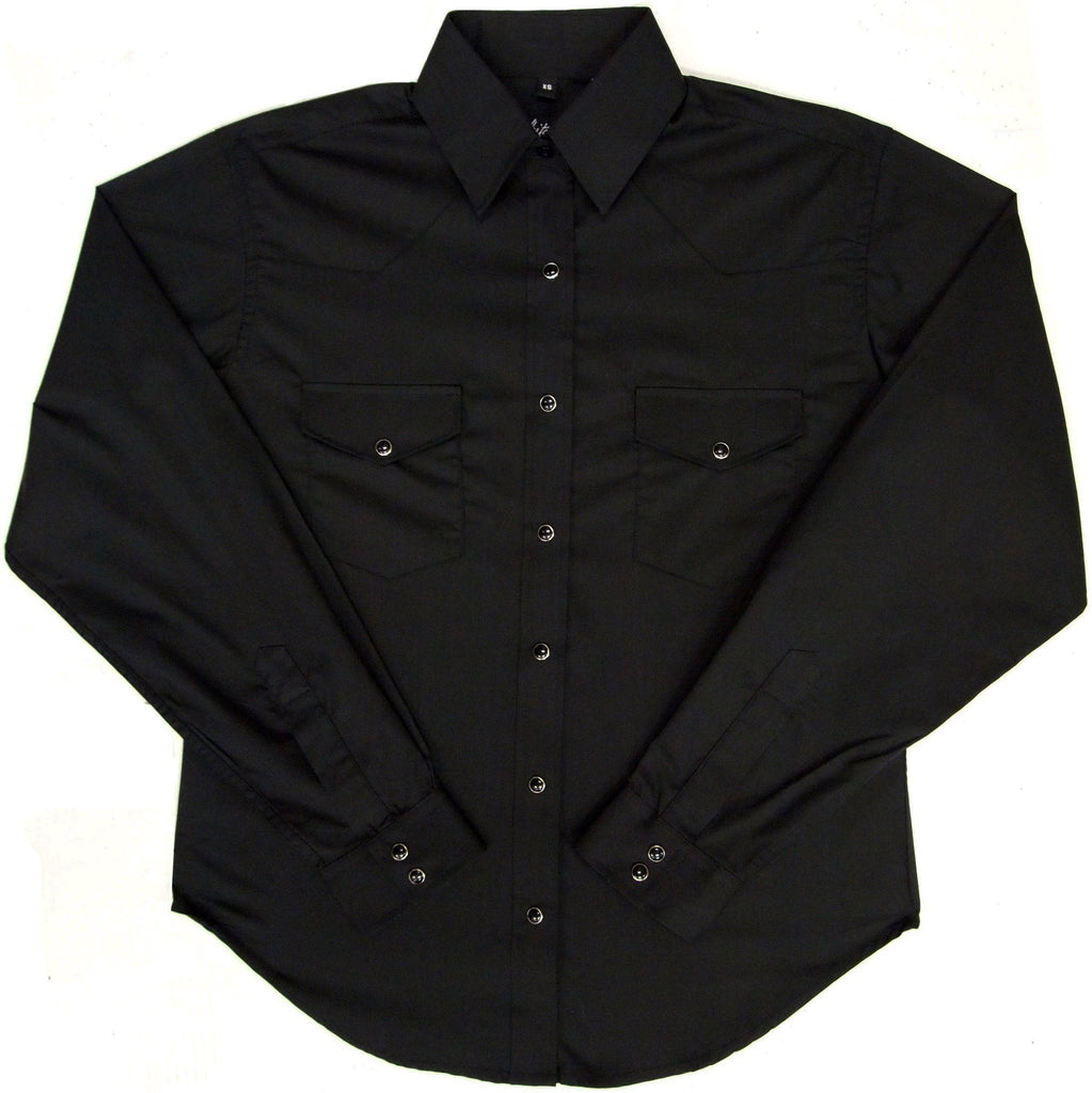 White Horse Womens Solid Black Western Shirt