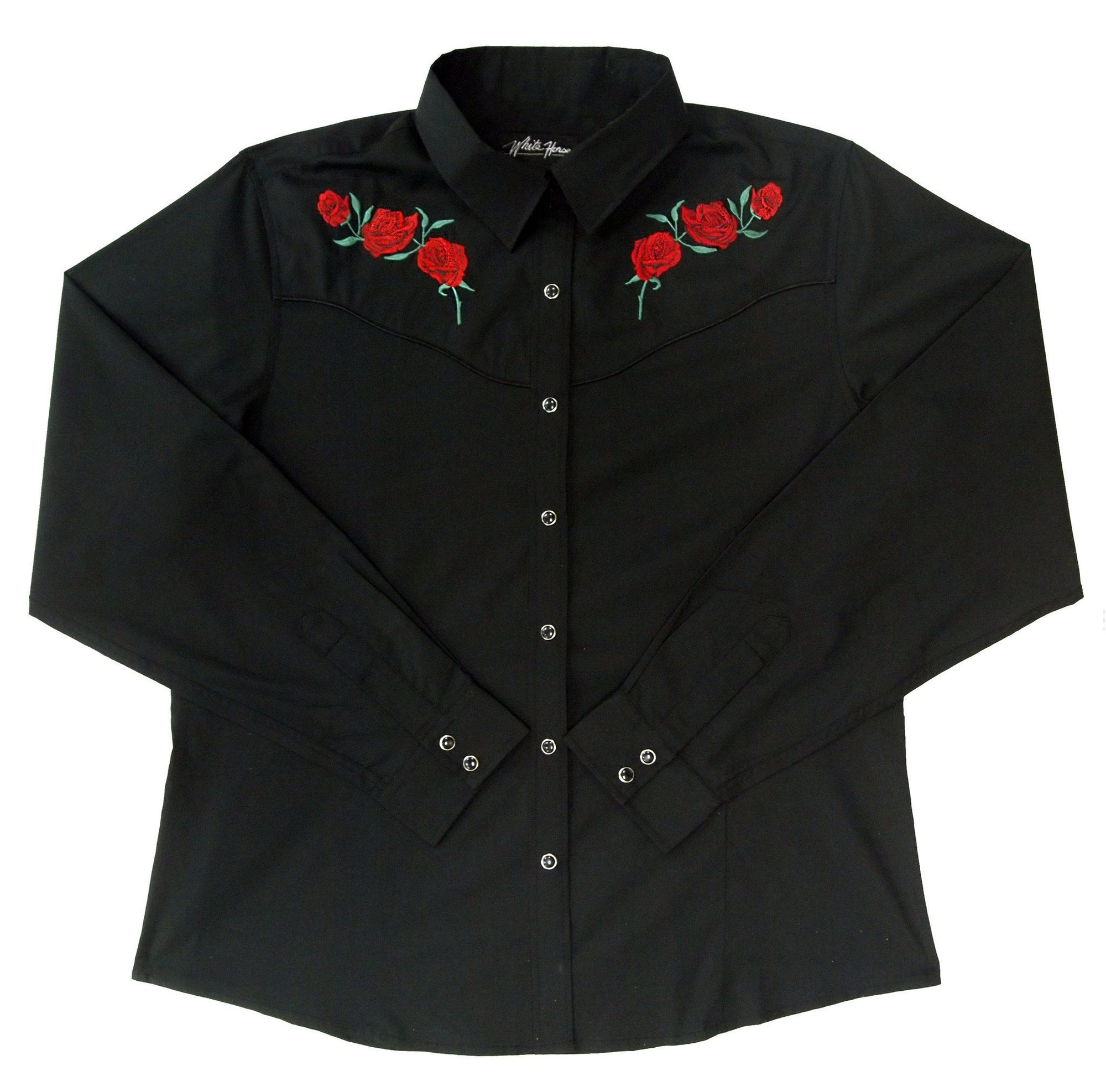 White Horse Womens Red Rose Western Shirt