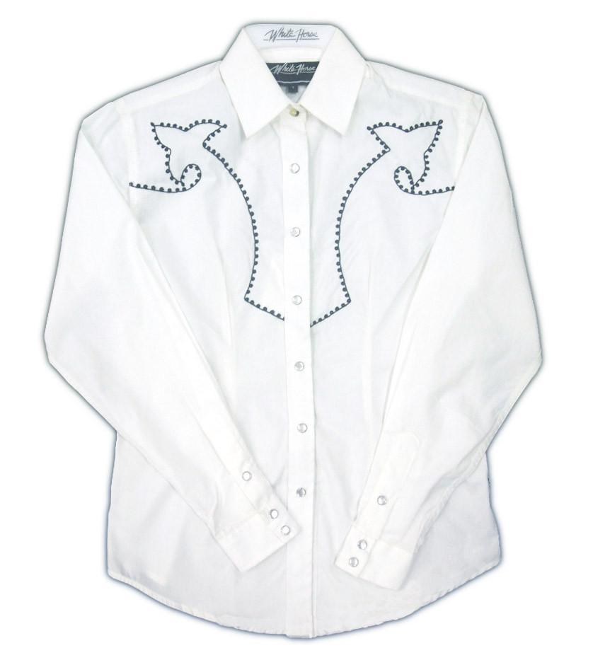 White Horse Womens Embroidered Western Shirt