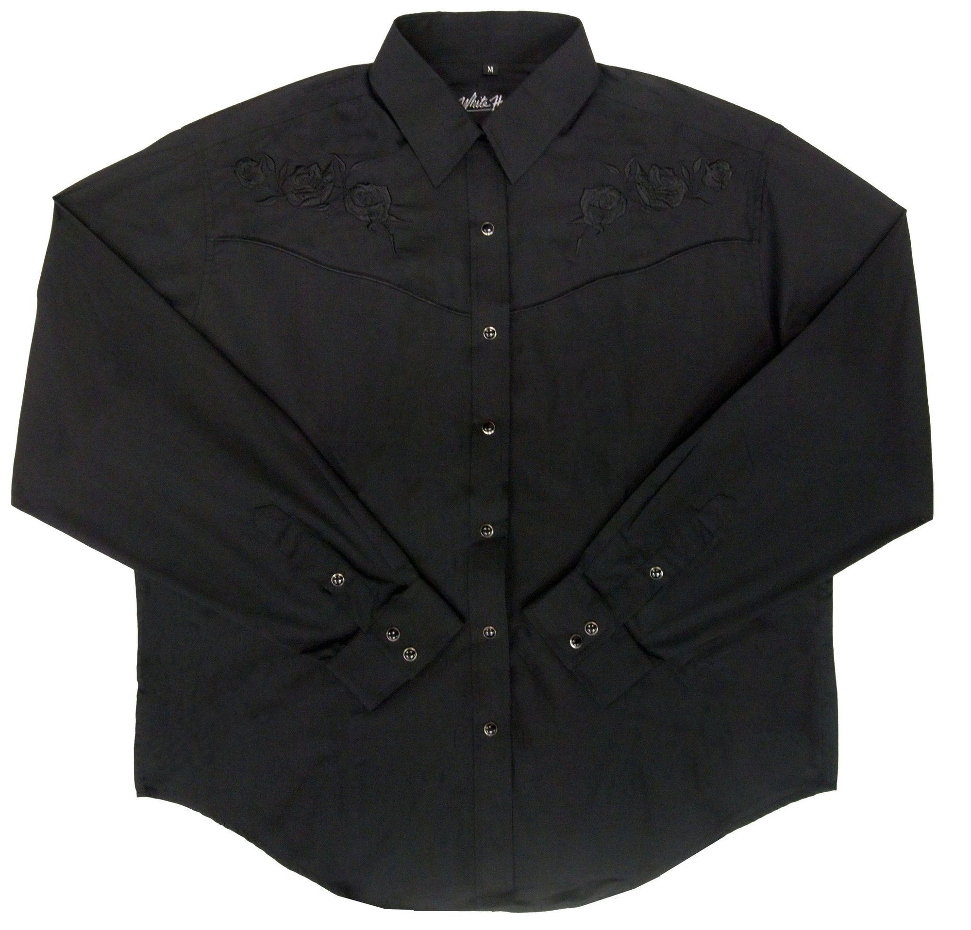 White Horse Womens Black Rose Western Shirt