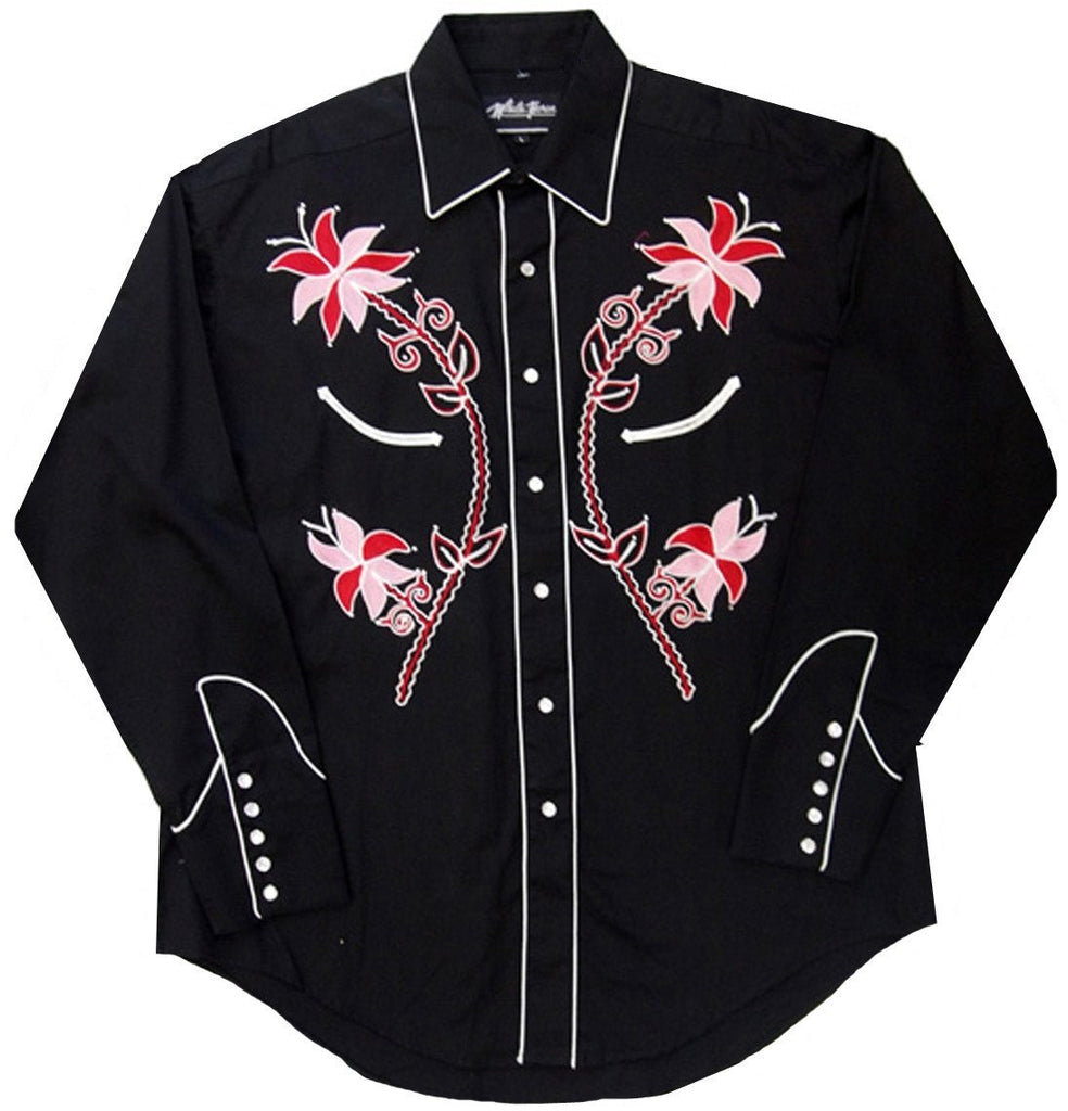 White Horse Womens Embroidered Flower Western Shirt