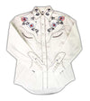 White Horse Womens Embroided Flower Western Shirt