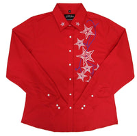 White Horse Womens Embroidered Star Red Western Shirt