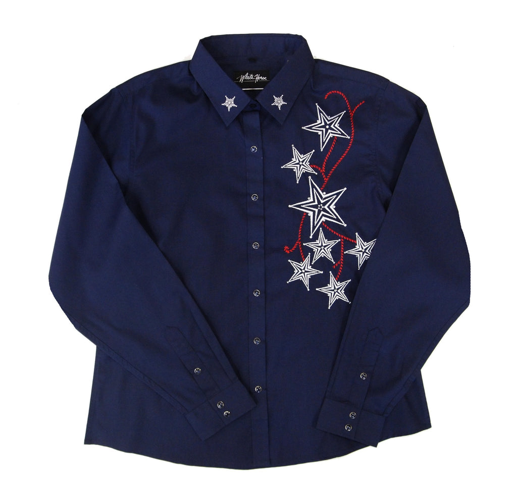 White Horse Womens Embroidered Stars Western Shirt