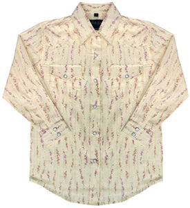 White Horse Girls Print Western Shirt