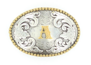 M&F Western Products Anitique Silver Floral Initial Belt Buckle
