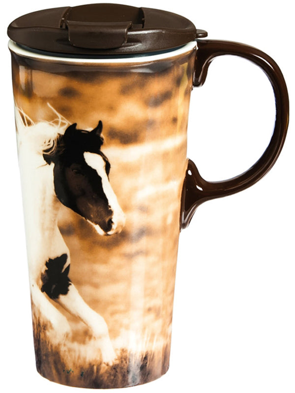 Evergreen Ceramic Travel Cup - Realistic Horse