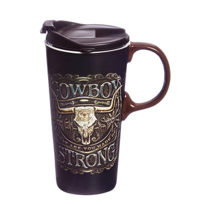 Evergreen Enterprises Ceramic Travel Cup - Cowboy Strong