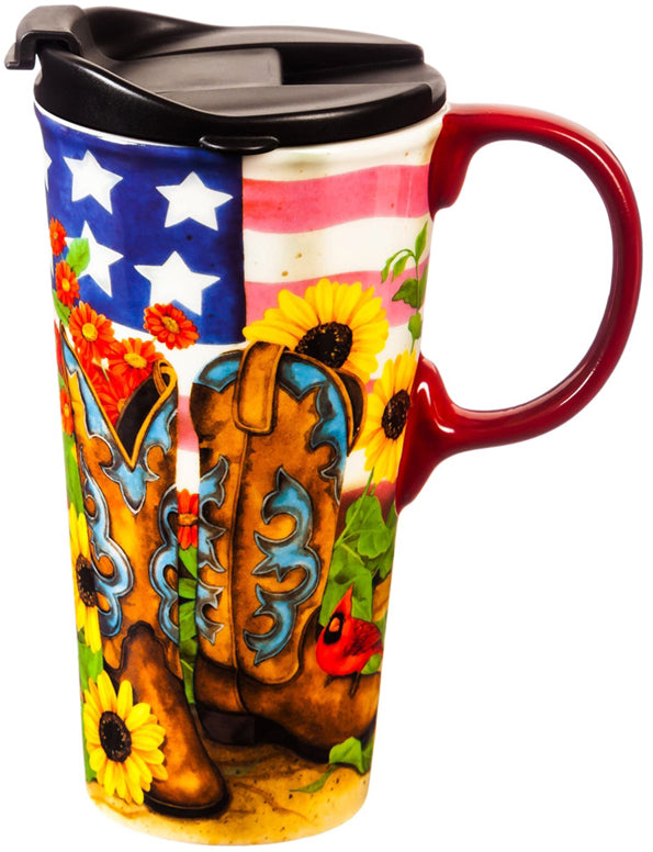 Evergreen Ceramic Travel Cup - Sunflower Cowgirl