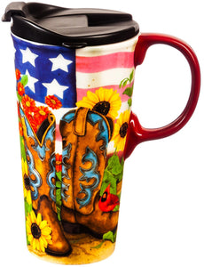 Evergreen Enterprises Ceramic Travel Cup - Sunflower Cowgirl