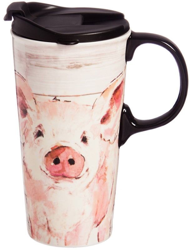 Evergreen Enterprises Ceramic Travel Cup - Pretty Pink Pig