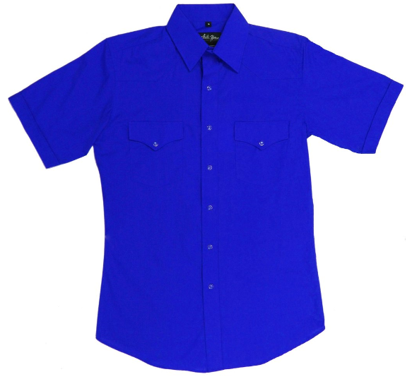 White Horse Men's Solid Royal Western Shirt