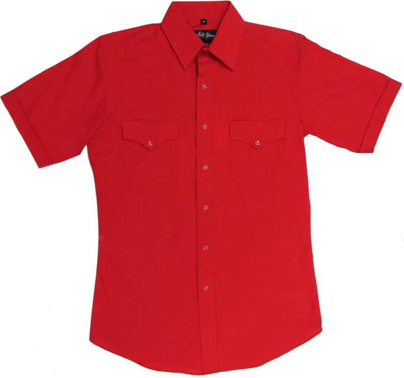 White Horse Men's Solid Red Western Shirt