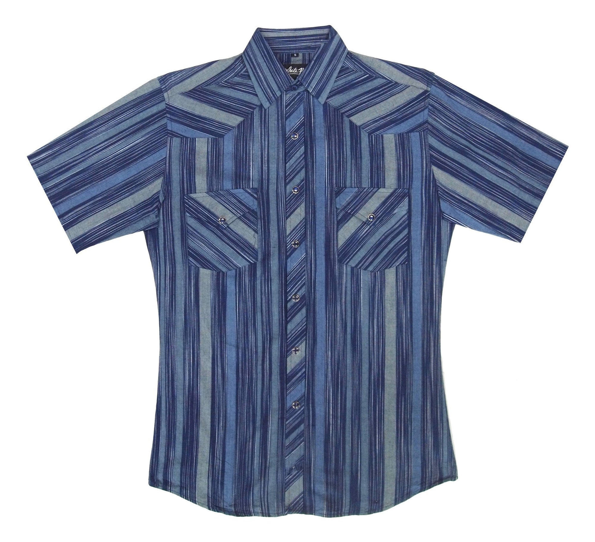 White Horse Men's Short Sleeve Stripe Western Shirt