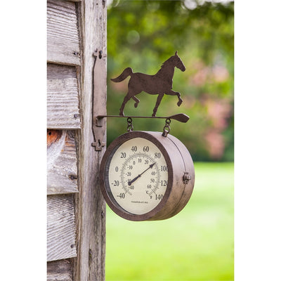 Evergreen Enterprise 2-Sided Outdoor Clock & Thermometer with Horse Icon