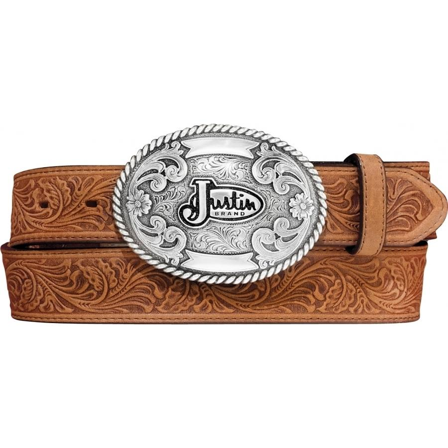 Justin Men's Leather Trophy Tool Western Belt - Tan