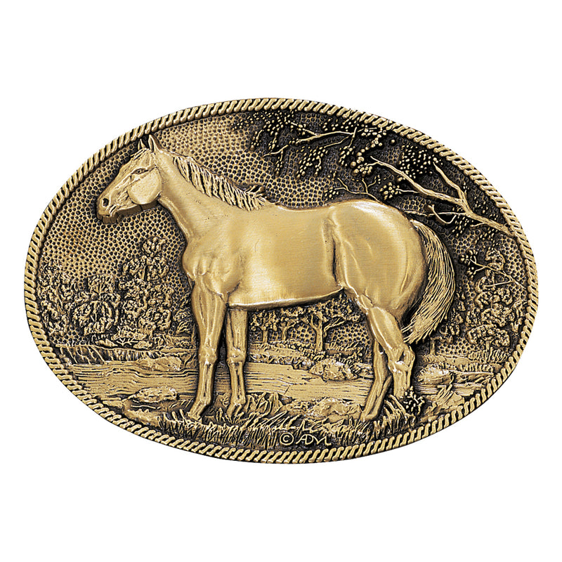 Montana Silversmiths Standing Horse Profile Heritage Attitude Belt Buckle