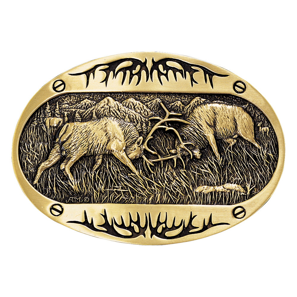 Montana Silversmiths Fighting Elk Brass Heritage Attitude Belt Buckle