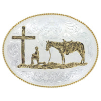 Montana Silversmiths Large Silver Engraved Western Belt Buckle with Christian Cowboy