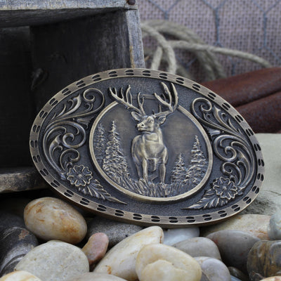 Montana Silversmiths Heritage Outdoor Series Wild Stag Carved Buckle
