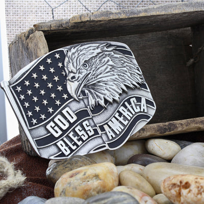 Montana Silversmiths Antiqued God Bless America Eagle Attitude Buckle