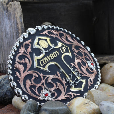 Montana Silversmiths Tri Color Cowboy Up Attitude Buckle