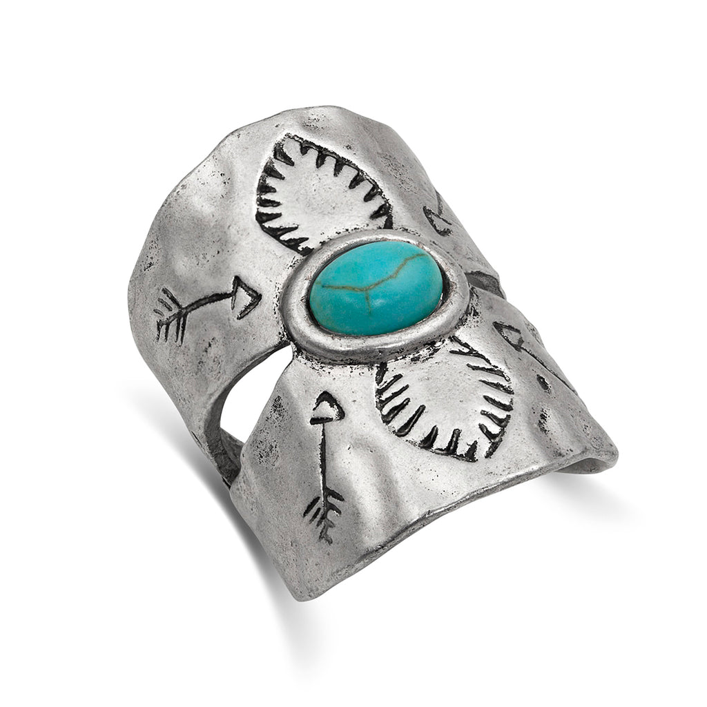 Montana Silversmiths Antiqued Turquoise Shield Ring Attitude Jewelry