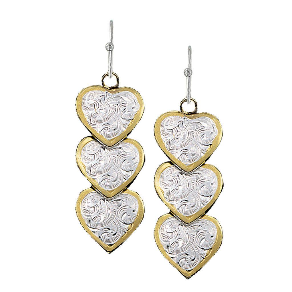 Montana Silversmiths Triple Hearts of Silver and Gold Dangle Earrings