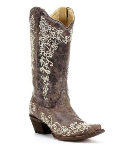 Corral Boots Distressed Brown with Bone Embroidery Western Boots