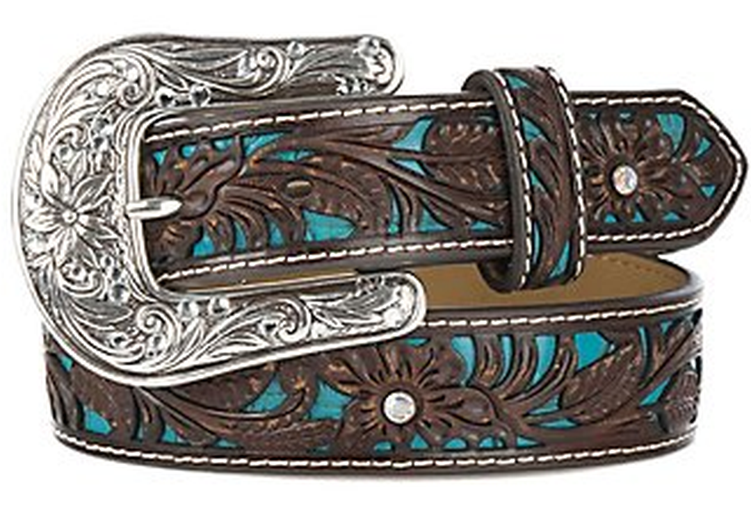 Ariat Girl's Brown Floral Embossed Belt
