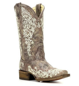 Corral Boots Ladies Brown Crater Bone Embroidered Boots