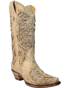 Corral Women's White Glitter Inlay & Crystals Wedding Boot
