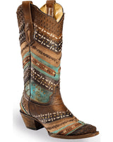 Corral Women's Embroidery & Studs Snip Toe Western Boot