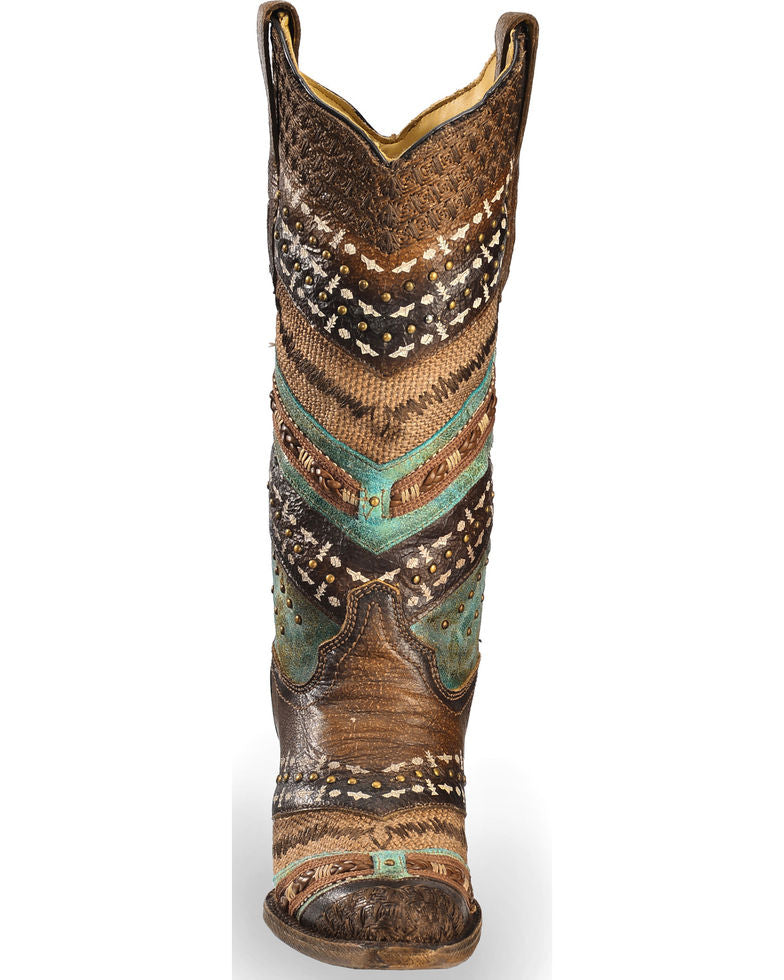 e1f290a0797 Corral Women's Embroidery & Studs Snip Toe Western Boot