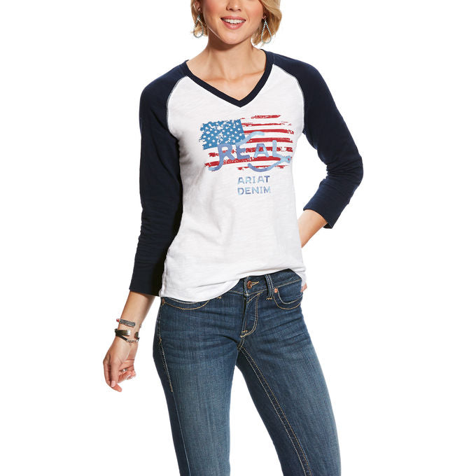 Ariat Women's Flag Graphic Raglan Baseball Top