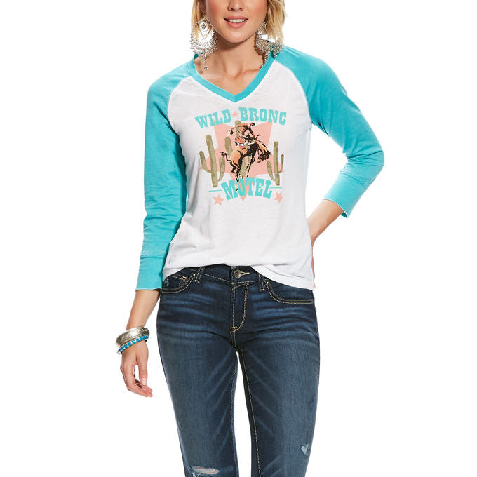 Ariat Women's Wild Bronc Graphic Raglan Baseball Top