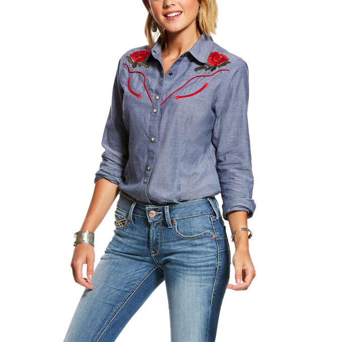Ariat Women's Real Lively Long Sleeve Embroidered Denim Western Shirt