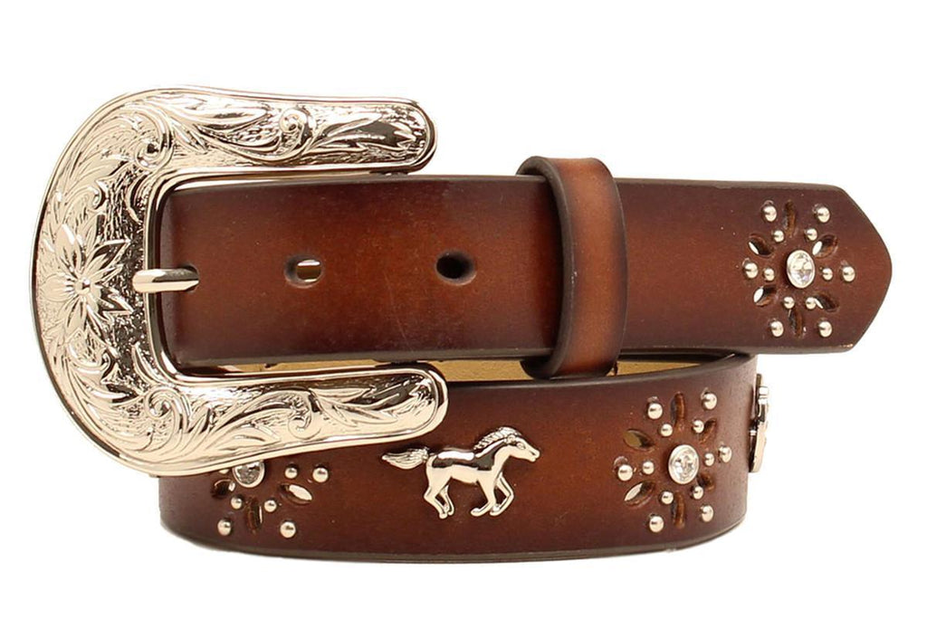 Ariat Girls Brown Leather Horse Concho Horseshoe Belt