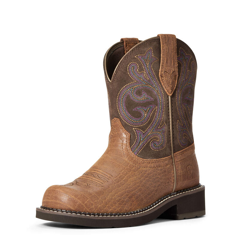 Ariat Women's Brown Croc Print Fatbaby Western Boot