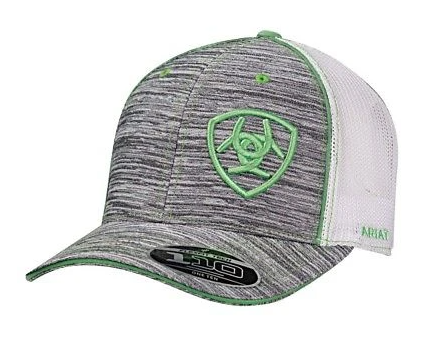 Ariat Heather Grey & Green Logo Mesh Baseball Cap