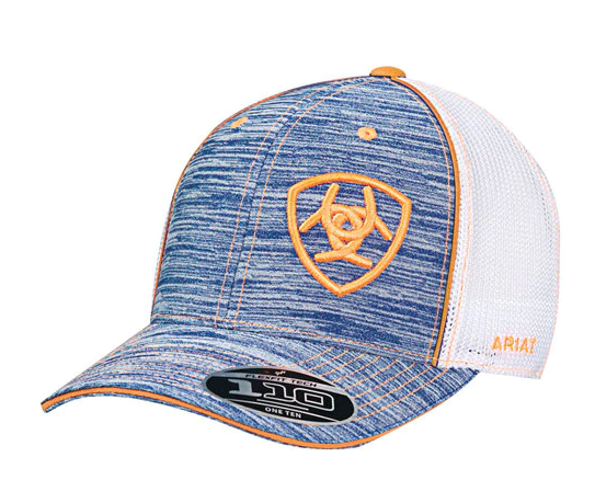 Ariat Heather Blue & Orange Logo Mesh Baseball Cap